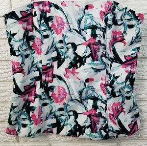WHBM Printed Bustier Corset Top 4 White Pink Green
